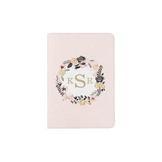 Guirnalda floral del oro negro rosado del porta pasaporte
