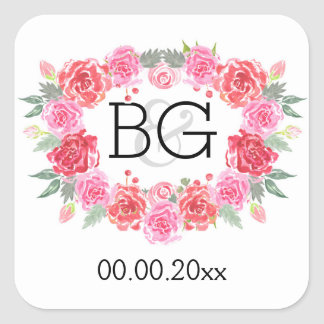 Guirnalda floral del rosa de la acuarela del pegatina cuadrada
