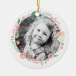 Guirnalda floral delicada personalizada de la foto adorno