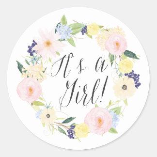 Guirnalda floral en colores pastel es un sello de pegatina redonda