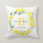 Guirnalda floral personalizada casando la almohada