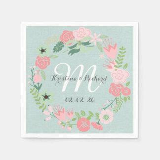 Guirnalda floral personalizada casando las servill servilletas desechables