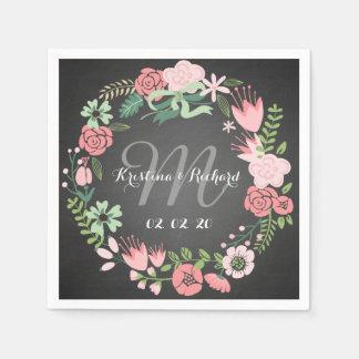 Guirnalda floral personalizada casando las servilleta de papel
