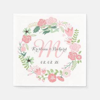 Guirnalda floral personalizada casando las servilletas desechables