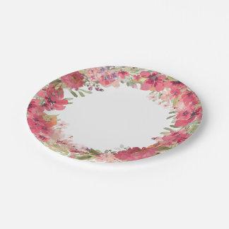 Guirnalda floral rosada de la acuarela plato de papel de 7 pulgadas