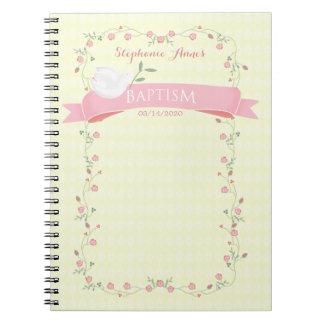 Guirnalda floral rosada del bautismo spiral notebook