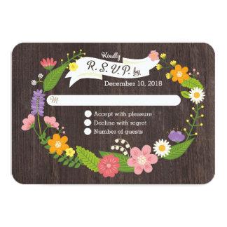 Guirnalda floral RSVP del arbolado caprichoso Invitación 8,9 X 12,7 Cm