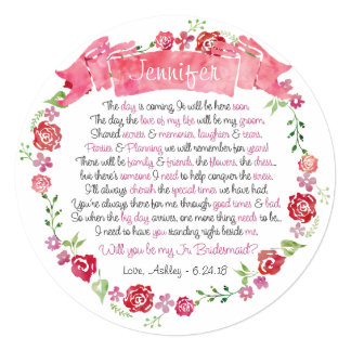 """Guirnalda floral usted será mi tarjeta de la dama invitación 5.25"""" x 5.25"""""""