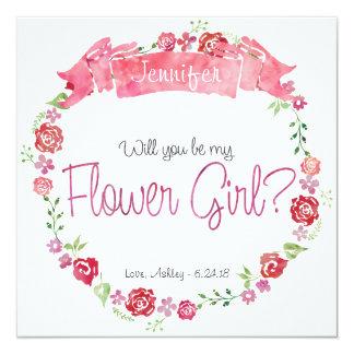 """Guirnalda floral usted será mi tarjeta del invitación 5.25"""" x 5.25"""""""