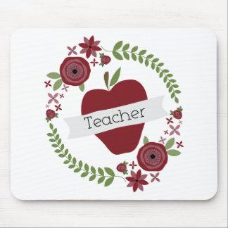Guirnalda floral y profesor rojo de Apple Tapetes De Ratón