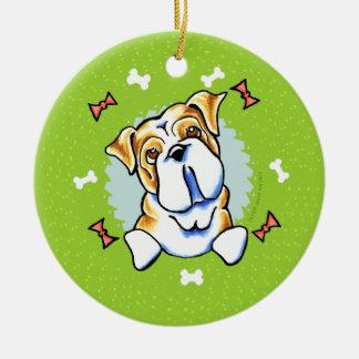 Guirnalda inglesa del navidad del dogo adorno navideño redondo de cerámica