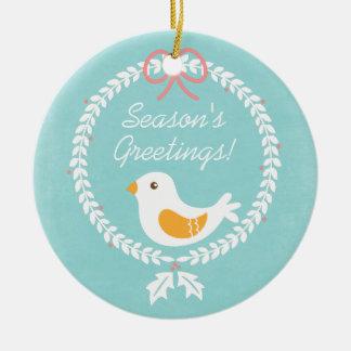Guirnalda moderna del navidad blanco con la paloma adorno redondo de cerámica