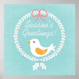 Guirnalda moderna del navidad blanco con la paloma póster
