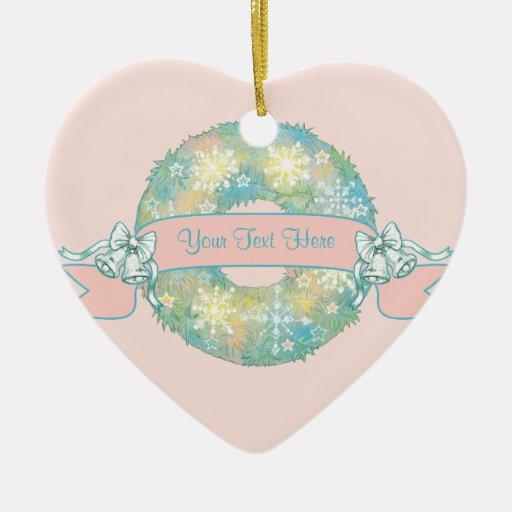 Guirnalda multicolora retra del navidad 50s del adorno navideño de cerámica en forma de corazón