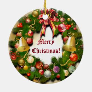 Guirnalda personalizada del navidad adorno navideño redondo de cerámica