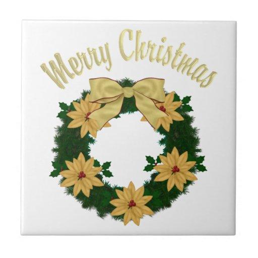 Guirnalda preciosa del día de fiesta del navidad - azulejo cuadrado pequeño