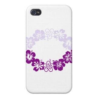 guirnalda púrpura de los leus del hibisco iPhone 4 protector