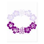 guirnalda púrpura de los leus del hibisco postales