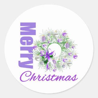 Guirnalda púrpura del jardín del tema de las etiqueta redonda