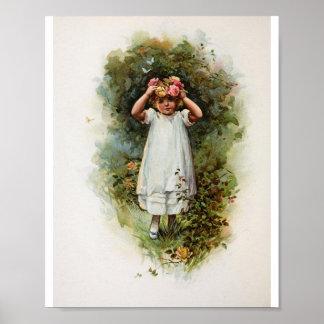 Guirnalda que lleva del florista del vintage póster