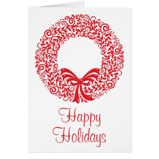 Guirnalda roja del navidad tarjeta de felicitación
