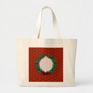 Guirnalda roja y verde del vintage de la cinta del bolsas lienzo