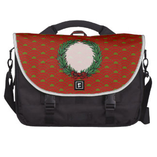 Guirnalda roja y verde del vintage de la cinta del bolsa para ordenador