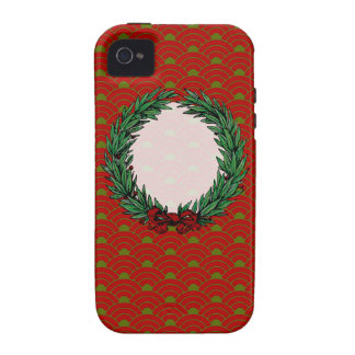 Guirnalda roja y verde del vintage de la cinta del iPhone 4/4S carcasas