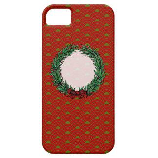 Guirnalda roja y verde del vintage de la cinta del iPhone 5 protector