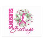 Guirnalda rosada de la cinta de los saludos de la  tarjetas postales