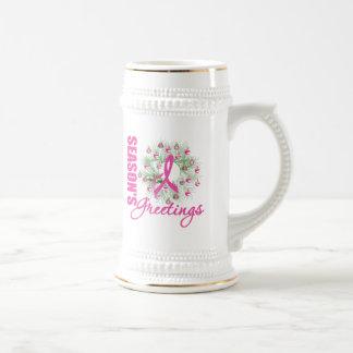 Guirnalda rosada de la cinta de los saludos de la taza