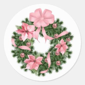 Guirnalda rosada de Poinsetta Pegatina Redonda