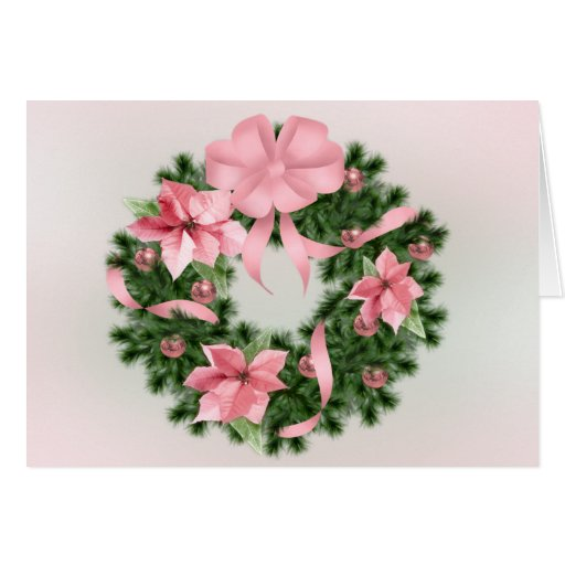 Guirnalda rosada de Poinsetta Tarjeta De Felicitación