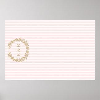 Guirnalda rosada y puntilla del rosa en colores póster