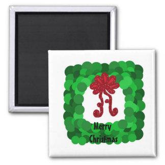 Guirnalda verde cuadrada elegante del navidad imanes de nevera