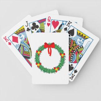 guirnalda verde de Navidad con el arco rojo Baraja Cartas De Poker