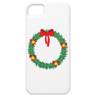 guirnalda verde de Navidad con el arco rojo iPhone 5 Case-Mate Carcasa