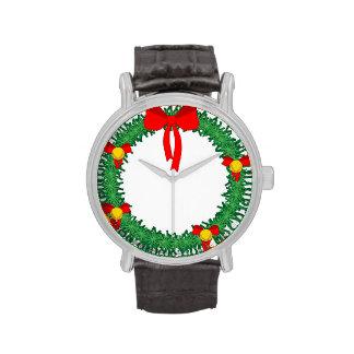 guirnalda verde de Navidad con el arco rojo Relojes De Mano