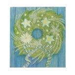 Guirnalda verde del navidad con las estrellas blan blocs de notas