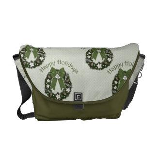 Guirnalda verde formal del navidad bolsas de mensajeria