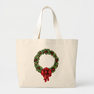 Guirnalda y bayas del acebo del navidad del bolsa tela grande