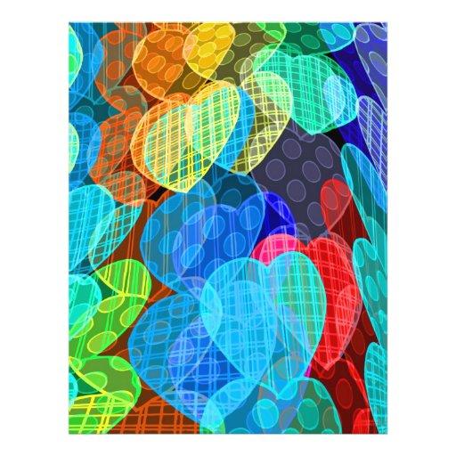 guirnaldas de corazones coloreados pastel flyer a todo color