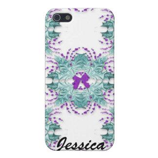 Guirnaldas y arco púrpuras Iphone 4 Ca iPhone 5 Protector