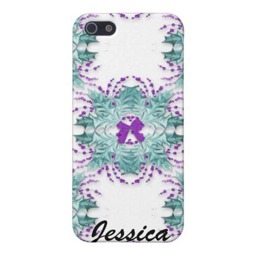Guirnaldas y arco púrpuras Iphone 4 Ca iPhone 5 Fundas
