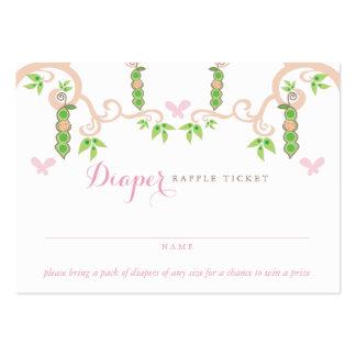 Guisante de la niña en un boleto de la rifa del tarjetas de visita grandes