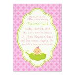 Guisante rosado y verde en la invitación de la