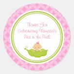 Guisante rosado y verde en los pegatinas de la pegatinas redondas