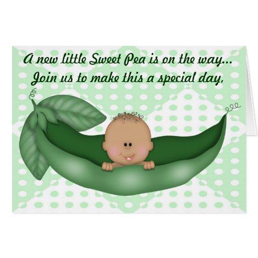 Guisante verde de la fiesta de bienvenida al bebé  tarjeton