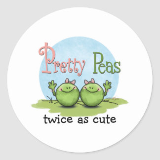 Guisantes bonitos - chicas gemelos de los veggies etiquetas redondas