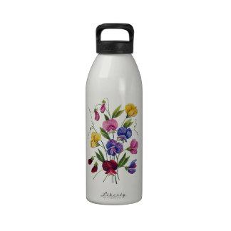 Guisantes de olor coloridos bordados botella de beber